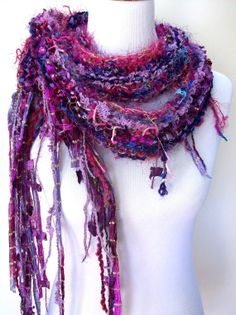 Glitz Hand Knit Scarf Vibrant Violet and Magenta Hues by Fanchi, $34.00