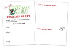 Free printable invitation for hosting an Operation Christmas Child shoebox party. http://www.homeschoolcreations.net/2012/10/hosting-an-operation-christmas-child-shoebox-party/