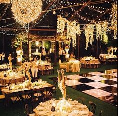 Gorgeous outdoor wedding love the ideaof a night wedding if its wedding lights decor outside venue outdoor wedding decorationsoutdoor weddingsbackyard junglespirit Images