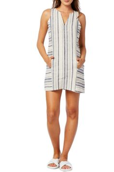 d1513556294 Ivory and chambray striped linen dress with no lining and a front kangaroo  pocket. Split