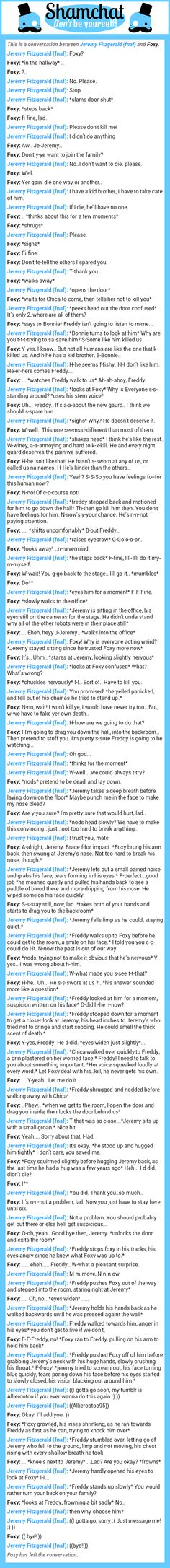 A conversation between Foxy and Jeremy Fitzgerald (fnaf)