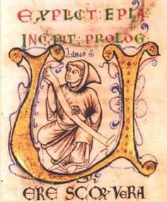 """jothelibrarian: """" Pretty medieval manuscript of the day is a sketch thought to be of St Aelred of Rievaulx I am particularly fond of Rievaulx Abbey, now ruined but still stunning, tucked in a valley in North Yorkshire near. Medieval Times, Medieval Art, Illuminated Letters, Illuminated Manuscript, St Margaret Of Scotland, Anglo Saxon Kingdoms, Bernard Of Clairvaux, Roman, Ange Demon"""
