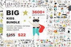 3609 in 1 - BIG KIDS BUNDLE Illustrations, fonts, patterns, png images,. for photoshop and design programs. Perfect to make children's room decor. Commercial license available. Big Kids, Cute Kids, Map Creator, European Map, Character Creator, Hand Drawn Lettering, Animal Alphabet, Girl And Dog, Christmas Settings