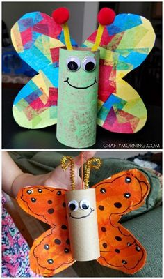 Cardboard tube butterfly craft for kids to make! Perfect for spring or summer. Use toilet paper rolls or paper towel rolls. is for butterfly crafts Cardboard Tube Butterfly Kids Craft - Crafty Morning Spring Crafts For Kids, Diy And Crafts Sewing, Crafts For Kids To Make, Easy Crafts For Kids, Summer Crafts, Art For Kids, Spring Crafts For Preschoolers, Spring Craft Preschool, Children Crafts