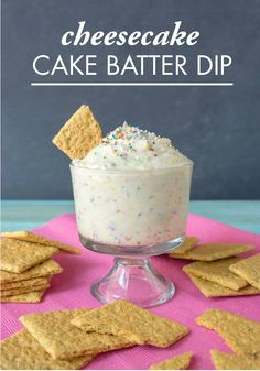 For the on-trend combination of sweet and salty, serve this Cheesecake Cake Batter Dip with Town House Sea Salt Pretzel Thins at your next girlfriend get-together! This recipe tastes just like birthday cake frosting with sprinkles. Yum.