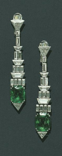 Spectacular emerald and diamond earrings. I'm not sure I've ever seen trapezoidal diamonds before - Leigh