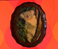 vintage 70s wall hanging KOALA bear cute wooden art wood plaque nature animals wtf 80s