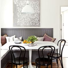 Design a banquette with layered shades and tones. (Cultivate.com)