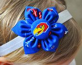 Kansas Jayhawks fabric flower baby headband