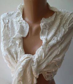 Ivory  Beige  Elegance Shawl / Scarf Traditional  fabric by womann,