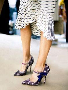 navy dots and stripes.  These shoes are killer! Luv luv luv this outfit