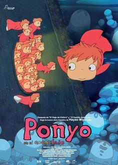 """Gake no Ue no Ponyo (Ponyo on the Cliff by the Sea) (Ponyo en el acantilado)"" (Studio Ghibli) Studio Ghibli Poster, Studio Ghibli Art, Studio Ghibli Movies, Hayao Miyazaki, Posters Vintage, Japon Illustration, Manga Covers, Anime Films, Minimalist Poster"