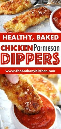 A kid-friendly dinner idea the whole family will love, even those little picky eaters! Try this recipe for parmesan crusted chicken tenders featuring chicken strips, panko breadcrumbs, and freshly grated Parmesan cheese. Don't forget marinara sauce on the Chicken Tender Recipes, Baked Chicken, Chicken Strip Recipes, Recipe Chicken, Parmesan Crusted Chicken Tenders Recipe, Healthy Meal Prep, Healthy Snacks, Picky Eaters Kids, Family Meal Ideas Picky Eaters