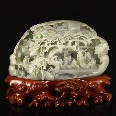 6.5 kg Chinese Hetian Jade Statue - Sages Meeting 6.5 kg 中國和田玉 鏤空雕刻 群賢聚會 松下論道 擺件