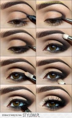 smoky eyes-Super easy application! Moving the applied pencil around makes for a dramatic look & you can use any color you already have. It just has to be a smooth enough texture, like MAC pencils. Love how they dragged the line up into the crease. Smudge it & there ya go!