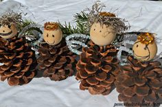 Pine-cone Angels! so sweet!! Christmas crafts for kids
