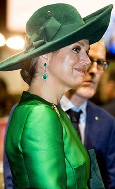 Queen Maxima of The Netherlands opted for a dazzling pair of drop emerald and diamond earrings, as she opens the bio Fair  on January 17, 2018 in Zwolle, Netherlands.