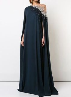 Solid Beading Oblique Neckline Maxi A-line, Dress - Dark Navy / S Source by floryday dresses elegant Mode Outfits, Dress Outfits, Dress Up, Fashion Outfits, Fall Dresses, Elegant Dresses, Beautiful Dresses, Abaya Fashion, Couture Fashion