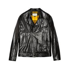 GucciGhost Leather Biker Jacket ($6,200) ❤ liked on Polyvore featuring outerwear, jackets, motorcycle jacket, moto jacket, genuine leather biker jacket, real leather jackets and gucci jacket