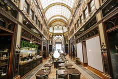 Budapest's ornate Párisi Udvar now open for business Double Staircase, Honeycomb Shape, Copper Decor, Concrete Building, Reinforced Concrete, Gothic Architecture, Moorish, Retail Design, Budapest