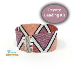 Stitch this beautiful peyote bracelet with our brand new beading kit! Its an easy and fun jewelry making project for all ages. All materials required to make this bracelet are included! Beading Kit Includes: - High-End Silver Clasp - Japanese Cylinder Beads - Thread - Two Beading