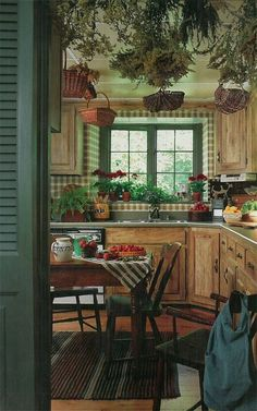 Green kitchen with plaid wallpaper and primitive details
