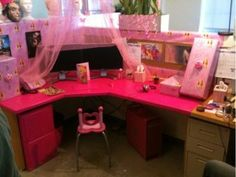 decorate a co workers cubicle to look like a little girls room especially funny if its a guy check out more funny cubicle pranks to play on your awesome cubicle decorations
