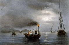 """""""Night fishing by fishing lamp"""", coloured lithograph by Ferdinand Perrot (Brest 1808–1841 St Petersburg). Genoa Pegli, Civico Museo Navale (Boat Museum)"""
