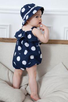 Navy Polka Dot Rompa by Absorba Stylish Little Girls, Girly Girls, Dressing, Little Fashionista, Kids Branding, Pink Polka Dots, Bleu Marine, Summer Kids, Baby Dress