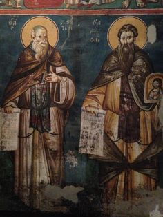 Fresco eeuw in Ohrid, Greek Macedonia so the names are in Greek. Religious Icons, Religious Art, Church Icon, Byzantine Art, Sacred Art, Macedonia, Color Pallets, Wood Carving, Christianity