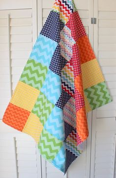 Baby Blanket - Gender Neutral Blanket - Unisex Nursery - Rainbow Chevron