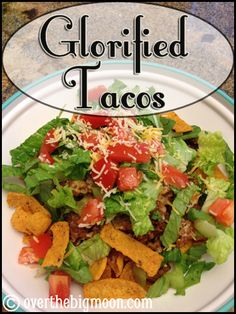 Glorified Tacos | Over The Big Moon - Such a delicious dinner and a great option when you need to serve a lot of people buffet style!  From www,overthebigmoon.com!