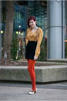 2138639debbfd Discover this look wearing Brick Red We Love Colors Tights, Mustard Asos  Blouses, Black H&M Skirts - Autumn Skies by redhaireddesigner styled for  Eclectic, ...