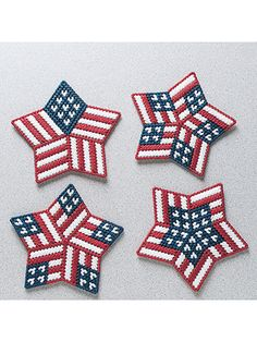 Plastic Canvas - Stitch up this set of patriotic designs to show off your American pride any time of the year! Use them as magnets, pins, gift tags and so much more. This e-pattern was originally published as part of the Plastic Canvas Collector's Series. Plastic Canvas Stitches, Plastic Canvas Coasters, Plastic Canvas Ornaments, Plastic Canvas Christmas, Plastic Canvas Crafts, Free Plastic Canvas Patterns, Plastic Canvas Letters, Plastic Craft, Plastic Mesh