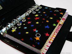 Filofax Personal Tasche Kalender Stiftetasche Zubehörtasche Schwarz Sterne