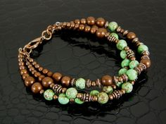 Womens Copper & Green Turquoise Three Strand Bracelet