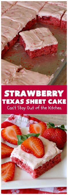 Sheet Cake Recipes, Cake Mix Recipes, Baking Recipes, Dessert Recipes, Strawberry Sheet Cakes, Strawberry Recipes, Best Strawberry Cake Recipe, Strawberry Sweets, Strawberry Kitchen