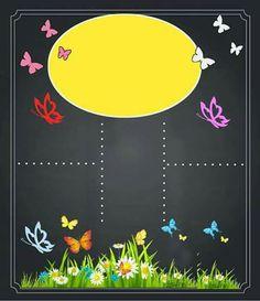 Borboletas Blackboard Art, Chalkboard Signs, Chalkboards, Printable Invitation Templates, Printables, Baby Frame, 1st Day Of School, Fairy Birthday, Binder Covers