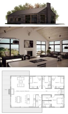 House plan, modern farmhouse homes house plans, modern house Modern House Plans, Small House Plans, Simple Home Plans, Beach House Floor Plans, Simple Floor Plans, Modern Lake House, Modern Cottage, Casas Containers, Cottage Plan