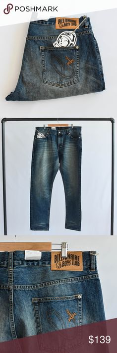 "Billionaire Boys Club Smart Cut Jeans Billionaire Boys Club Smart Cut medium wash blue jeans with whiskering. Minor discoloration under right knee. 35"" inseam on the pant. Billionaire Boys Club Jeans Straight"