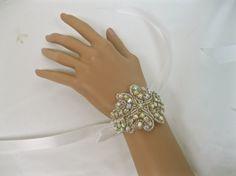 Rhinestone Bridal Bracelet Ribbon Crystal Cuff Wedding by ctroum, $25.00