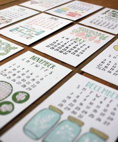 2014 Letterpress Calendar  REFILL ONLY by 1canoe2 on Etsy, $16.00