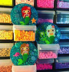 Mermaids  Resin mini perler bead magnets.