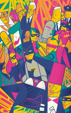 Batman 1966 Art Print- colourful