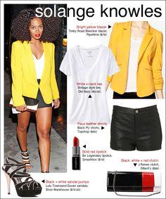 Solange Knowles sure loves her yellow! As do I.  yellow blazer, leather shorts, white tee, red lipstick