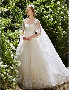 1cc7a988a [$349.99] Ball Gown Square Neck Watteau Train Lace Over Tulle Made-To-Measure  Wedding Dresses with Crystal / Beading / Sequin by LAN TING BRIDE® /  Sparkle & ...