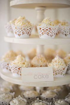 An elegant shabby-chic cupcake display! {Jillian Tree Photography} Taylor I am telling you. Shabby Chic Cupcakes, Lace Cupcakes, Wedding Cakes With Cupcakes, Cupcake Cakes, Cupcake Wedding, Yummy Cupcakes, Cupcake Recipes, Rustic Wedding, Our Wedding