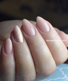 Sensational Stilleto Wedding Nail Art Designs to Look Super Gorgeous Nails Simple Wedding Nails, Wedding Nails Design, Wedding Manicure, Simple Nails, Trendy Nails, Cute Nails, Nail Art Yellow, Pink Nails, My Nails