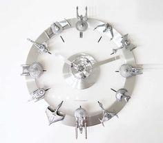 Star Trek Starships Clock |Gadgetsin - for Dad's game room??