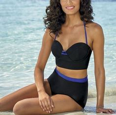 woman's sz 12 Deep Blue Retro Colorblock 2-Piece Swimsuit nwt #DeepBlue #TwoPiece